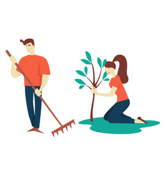 man and woman planting tree gardening and growing vector image