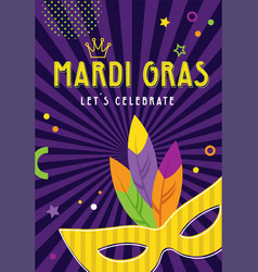 mardi gras party greeting card or invitations vector image