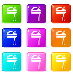 Mixer icons 9 set vector