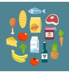 Online supermarket foods flat concept vector