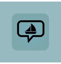 Pale blue sailing ship message vector