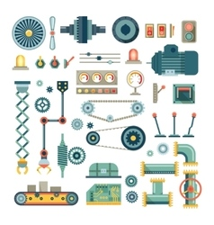 Parts machinery and robot flat icons set vector