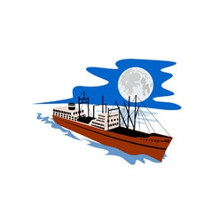 Passenger Ship Cargo Boat Retro vector image