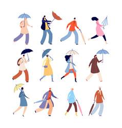 people with umbrellas rainy autumn city street vector image