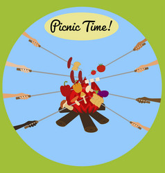 picnic poster with human hands around campfire vector image