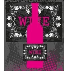Pink wine bottle vector image