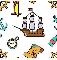 pirate ship and treasure map adventurous kids vector image