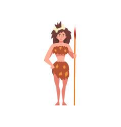 Prehistoric girl standing with spear primitive vector