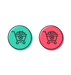 remove shopping cart line icon online buying vector image