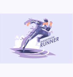running man a marathon runner vector image