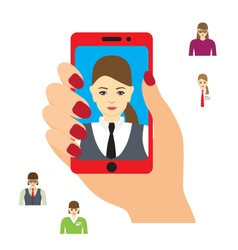 Selfie photo on smartphone vector image