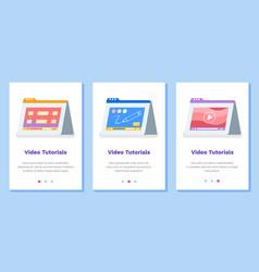 set about online video tutorials vector image