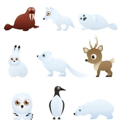 Set Arctic animals vector