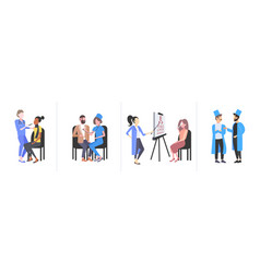 set doctors examining patients different medical vector image