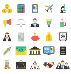 Set of 25 business icon flat vector