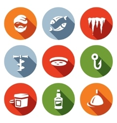 Set of Winter fishing Icons Fisherman vector image
