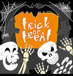 skull trick of treat concept background hand vector image