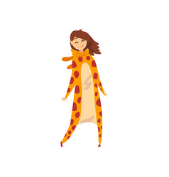 Smiling girl wearing giraffe animal costume vector