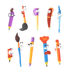 Smiling pen pencils and brushes series of vector