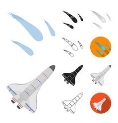 Space technology cartoonblackflatmonochrome vector