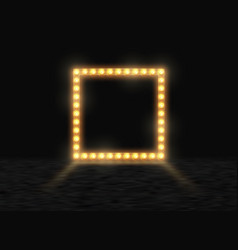 Square frame with glowing shiny light bulbs vector