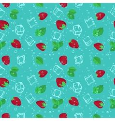 Strawberry mojito seamless pattern vector