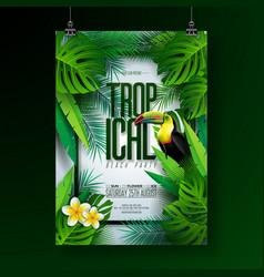Summer tropical beach party flyer design vector
