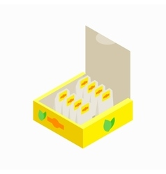 Teabags in paper box icon isometric 3d style vector