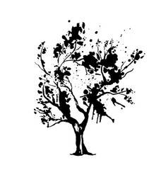 tree in japanese style watercolor silhouette vector image