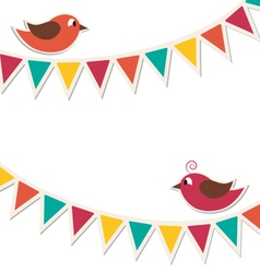 Two cute birds with flat buntings garlands vector