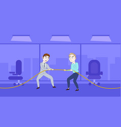 two successful business man pulling rope vector image