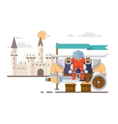 viking and castle vector image