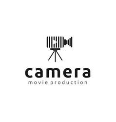 vintage video camera film movie logo design vector image