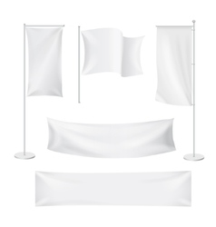 White flags and textile banners folds vector