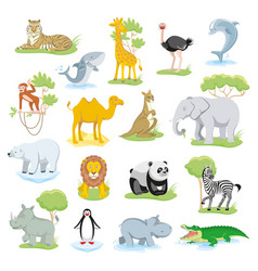 Wild animals and sea creatures set with landscape vector