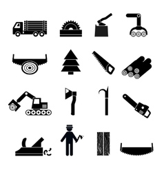 Woodworking Industry Icons Black vector