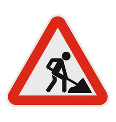 Work on road icon flat style vector