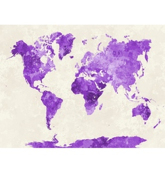 World map in watercolor purple vector
