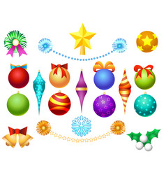 Xmas tree toys set vector