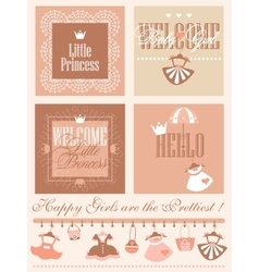 Baby Girl Shower Greetring Cards Design vector image vector image