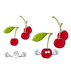 Cartoon juicy red cherries fruits vector image vector image