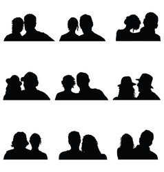 couple people silhouette vector image