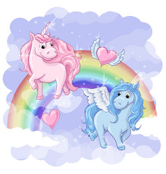 fantastic postcard with pegasus and unicorn vector image vector image