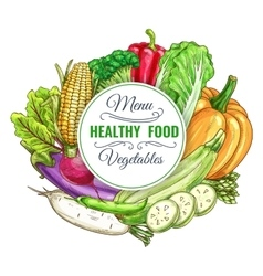 Healthy food vegetables poster vector image vector image
