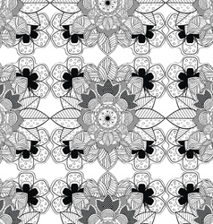 Lace Black and White Seamless Pattern vector image