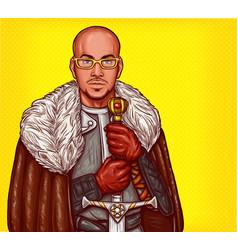 Pop art of a medieval knight vector