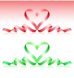 Red and green ribbons in the form of heart vector image vector image