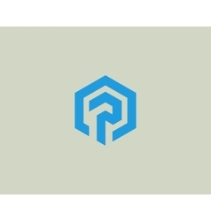 Abstract letter p logotype Line hexagon vector image