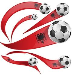 albania flag set with soccer ball vector image