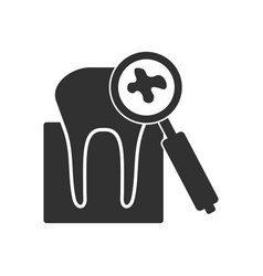 Black icon on white background tooth with vector